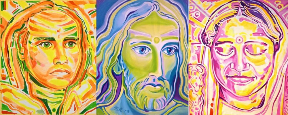 Dream Team, Jesus Babaji, Divine Mother - Paintings - Markus Ray Art Look