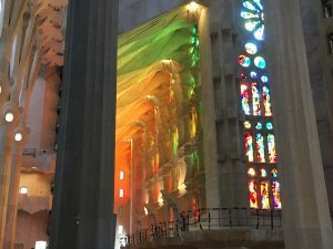 Sagrada Familia with a flood of light